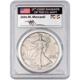 1991 Silver Eagle PCGS MS70 Mercanti Signed Label