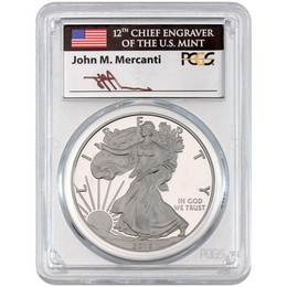 2016 W Proof Silver Eagle 30th Anniversary Lettered Edge PCGS PR70 DCAM Mercanti Signed Label