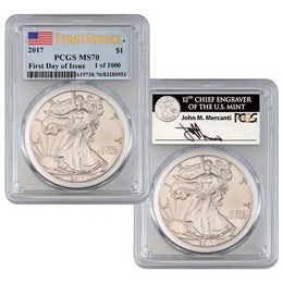 2017 Silver Eagle PCGS MS70 First Day of Issue Perfect Duo 1 of 1,000