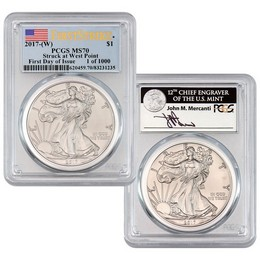 2017 (W) Silver Eagle Struck at West Point PCGS MS70 First Day of Issue Perfect Duo 1 of 1,000
