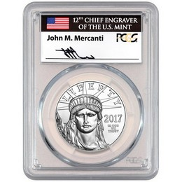 2017 20th Ann. 1oz Platinum Eagle PCGS MS70 FS Mercanti Signed Label