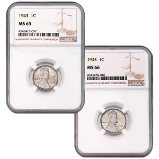 (2) 1943 Lincoln (Steel) Cents NGC MS-65 & MS-66