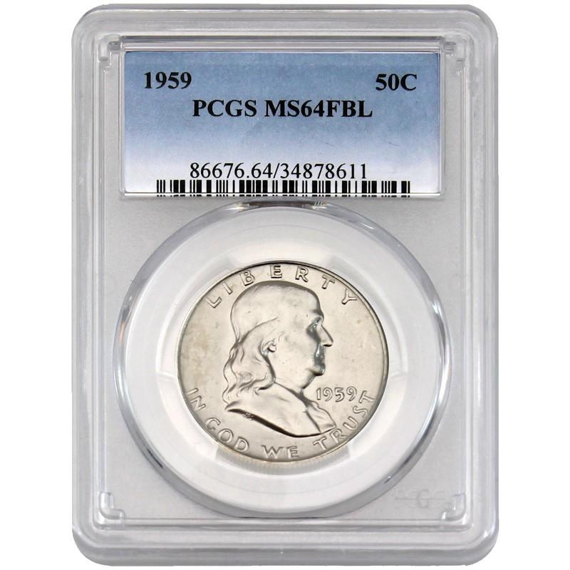 1959 Franklin Half Dollar PCGS MS-64 FBL