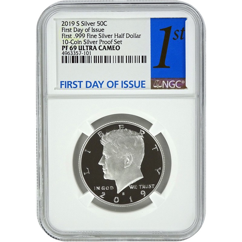 2019 S 50C Kennedy FIRST .999 Fine SILVER Half Dollar NGC PF 69 Ultra Cameo