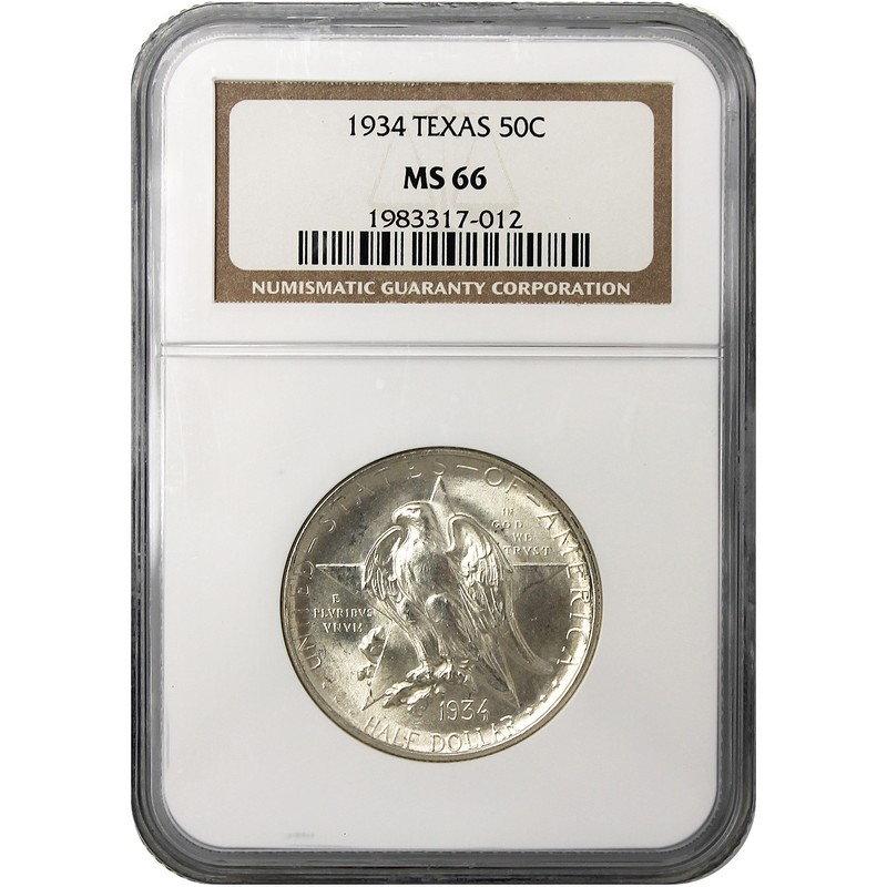 Texas Commemorative Half Dollar NGC MS 66 (Years and Mint Marks will vary)