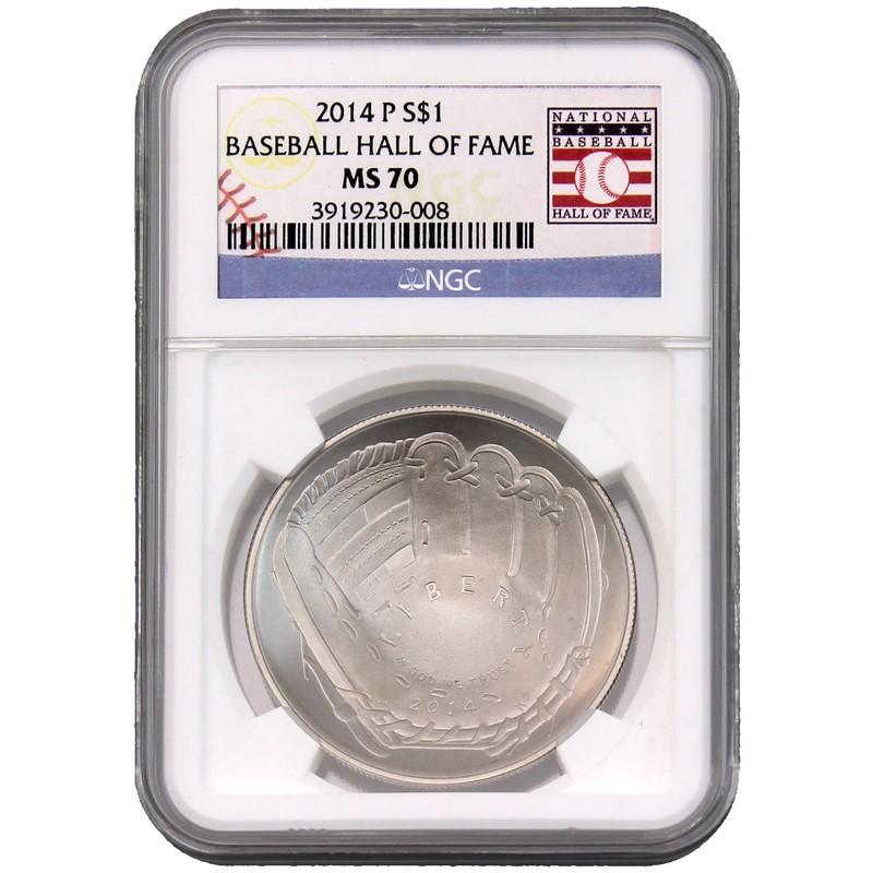 NGC MS-70 2014-P Baseball Hall of Fame Commemorative Silver Dollar