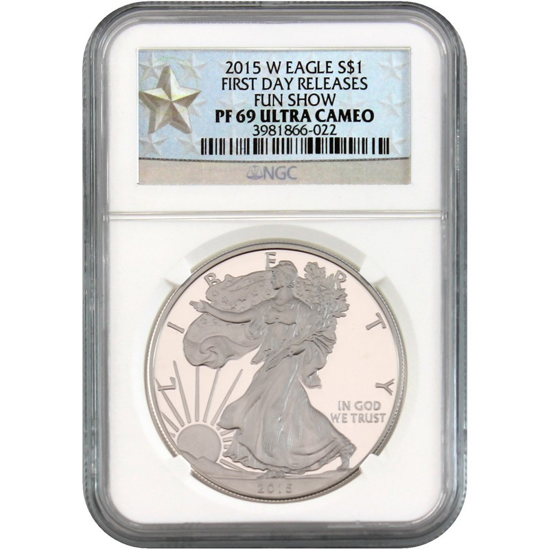 2015 W NGC PF69 ULTRA CAMEO SILVER PROOF EAGLE FUN SHOW RELEASES LABEL