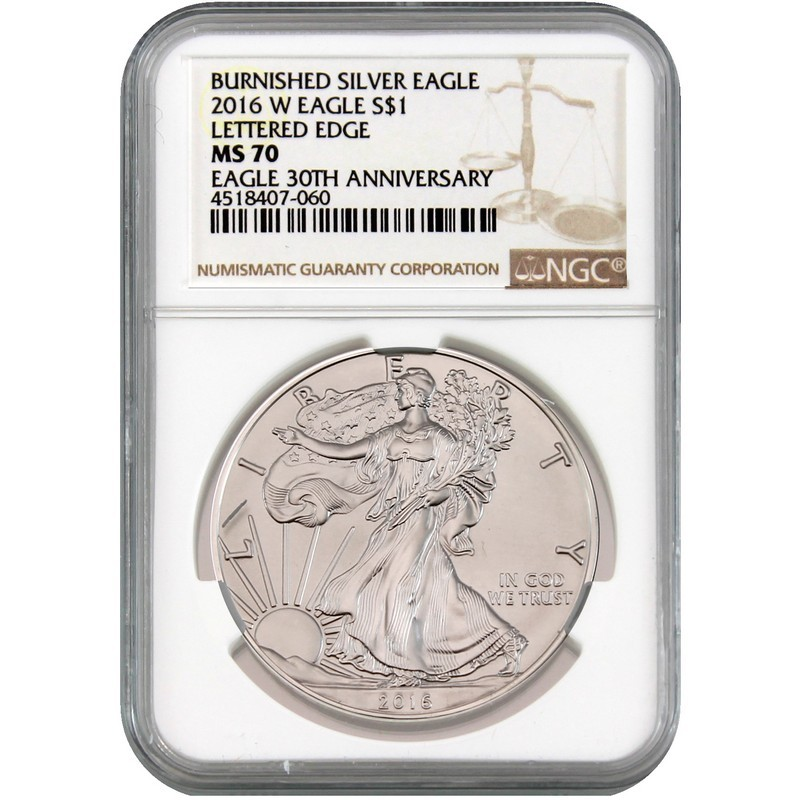 2016-W Burnished Silver Eagle NGC MS70