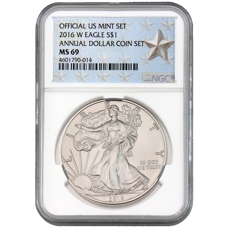 2016 W Burnished Silver Eagle Annual Dollar Set Ngc Ms69 Star Label