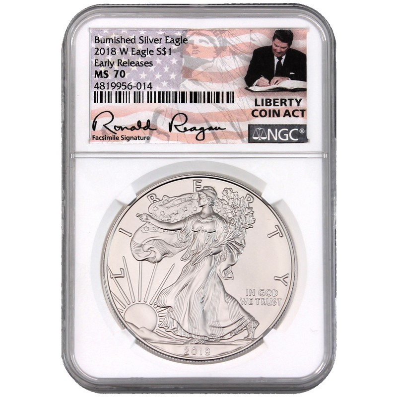 2018 Silver Eagle Pcgs Ms70 First Day Of Issue John Mercanti Signature