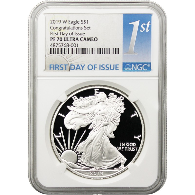 2019-W CONGRATULATIONS SET SILVER EAGLE// PCGS PF70// FIRST DAY OF ISSUE// FUN SHOW