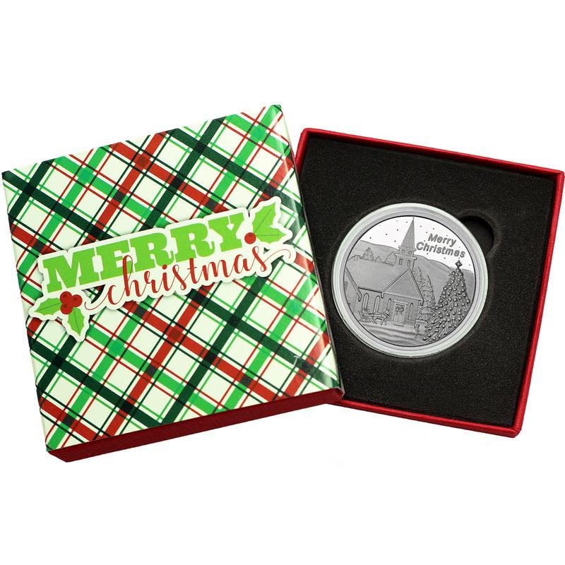 2017 Merry Christmas Country Church Scene 1oz 999 Silver Medallion