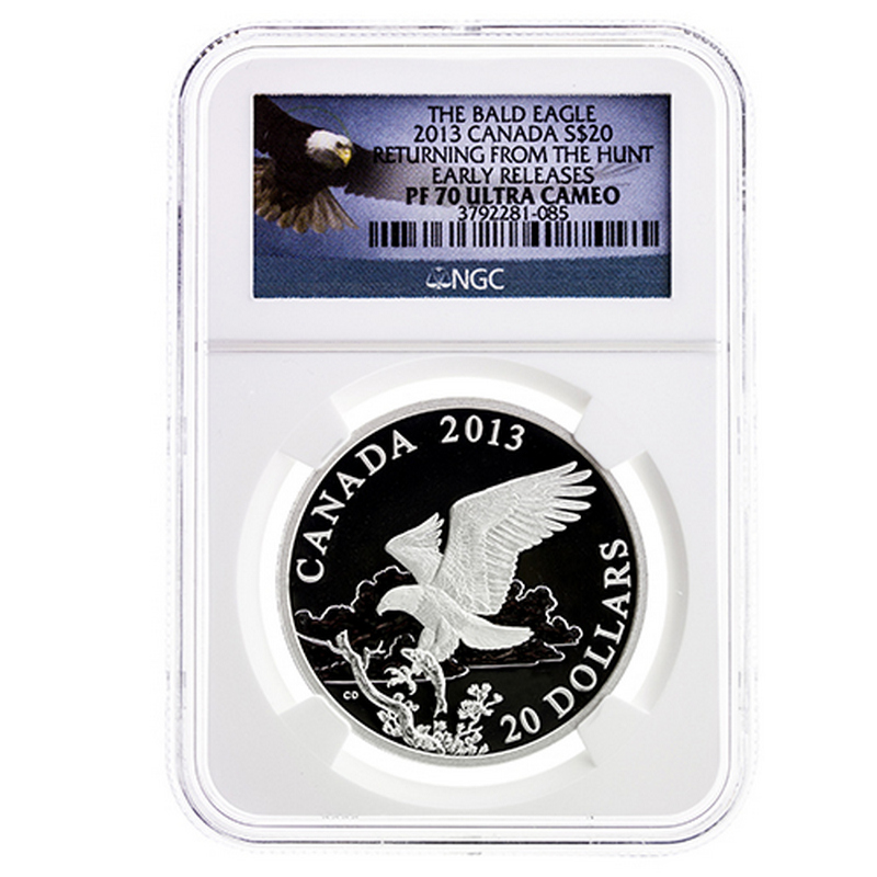 2013 $20 Silver COIN Canada /'Bald Eagle Returning from the Hunt/' 1oz PF70 ER NGC