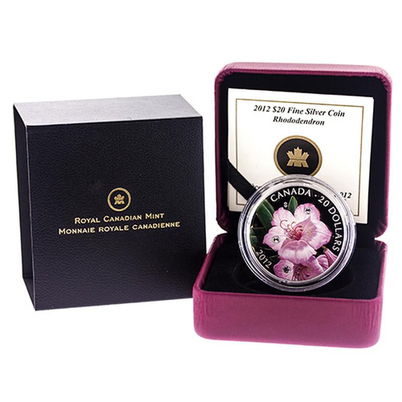 2012 Canada $20 Fine Silver Coin Rhododendron