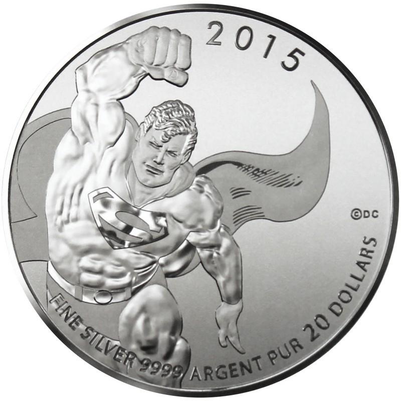1//4 OZ 2015 DC Comics Superman Canada $20 Dollars Fine Silver Coin