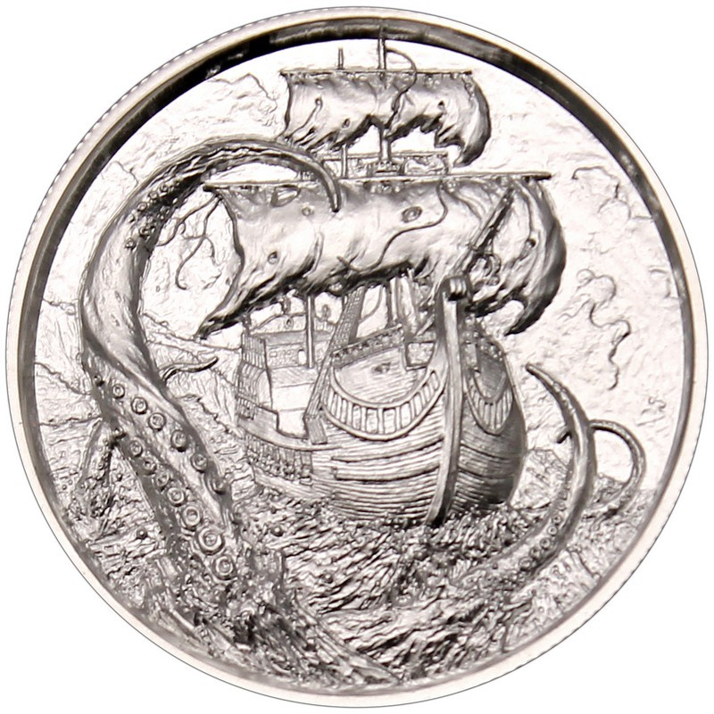 Privateer Series The Kraken Ultra High Relief 2 oz .999 Silver BU Round USA Coin