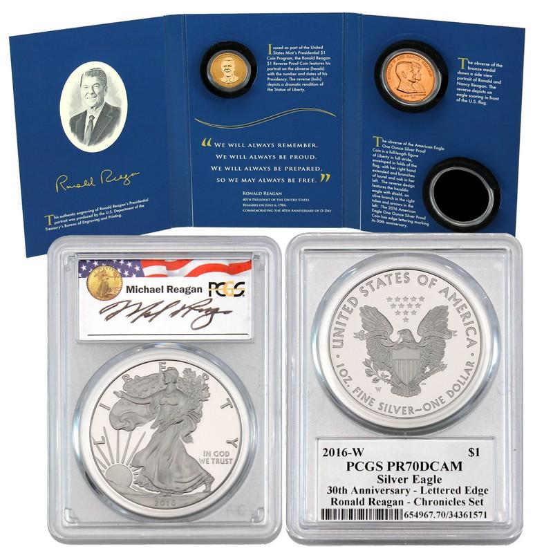 2016 S Presidential Dollar Proof Set PCGS PR70 DCAM $1 Portrait Label Reagan