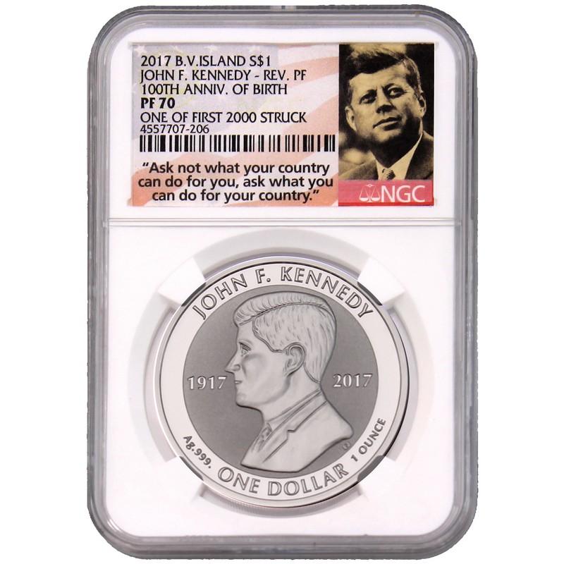 2017 British Virgin Islands JOHN F KENNEDY 1 oz Reverse Proof Silver Coin JFK $1