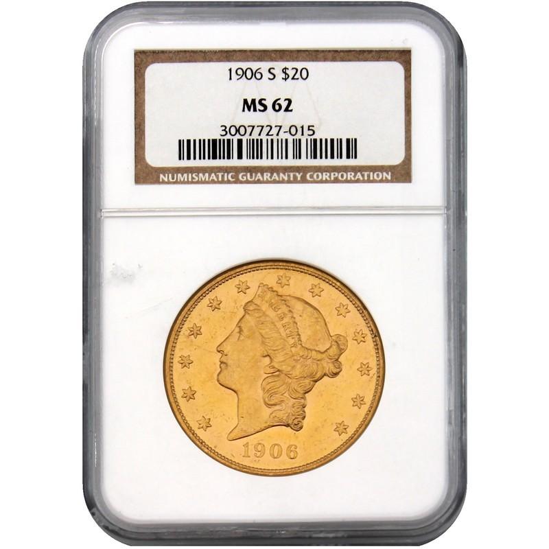 San Francisco Earthquake 1906 S $20 Gold Liberty NGC MS62