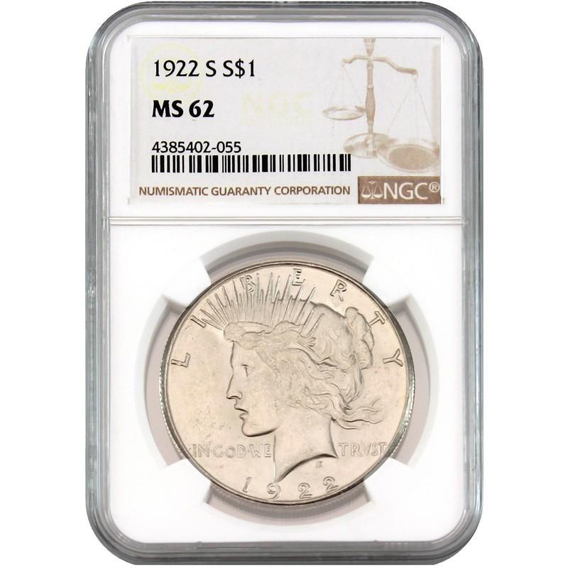 1922-S Peace Dollar NGC MS-62