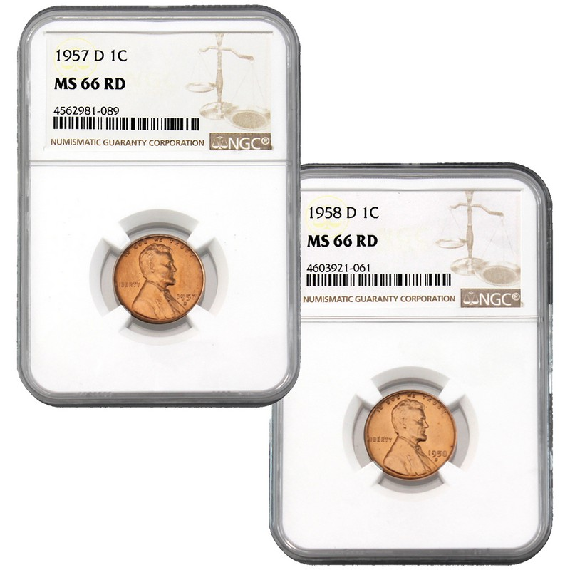 The Last (2) Denver Minted Lincoln Wheat Cents NGC MS-66 RD