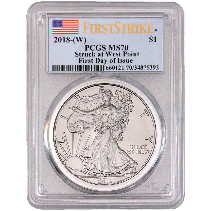 2018 W 1 Burnished Silver Eagle Ngc Ms70 Fdi Moy Black Core