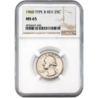 1960 Washington Quarter NGC MS65 Type B REV