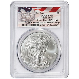 2016 W Burnished Silver Eagle Annual Dollar Set PCGS SP69 Eagle/Flag Label