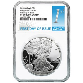 2018 W 'Congratulations Set' Proof Silver Eagle NGC PF69 UC 1st Day Issue