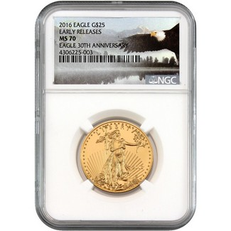 2016 $25 Gold Eagle NGC MS70 ER Eagle Label
