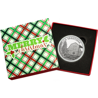 2017 Season's Greetings Farm Scene 1oz .999 Silver Medallion