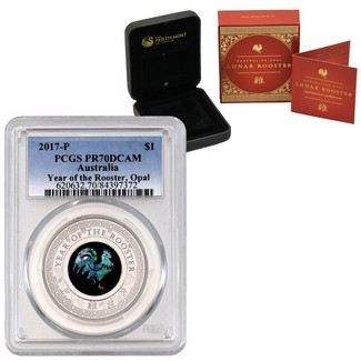 2017 P $1 Australia Year of the Rooster Opal PCGS PR70 DCAM