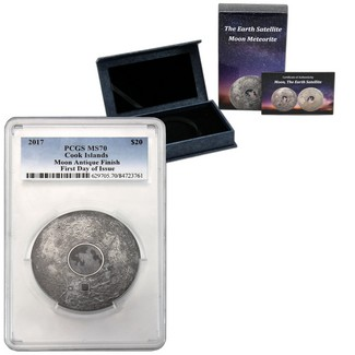 2017 $20 Moon with Real Meteorite 3oz Antique Finish Silver PCGS MS70 First Day Issue