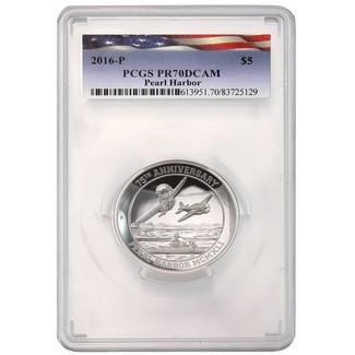75th Anniversary Pearl Harbor 5oz Proof Silver High Relief PCGS PR70 DCAM