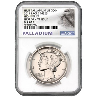 2017 $25 1 oz Palladium Eagle NGC MS70 First Day Issue Proof Like
