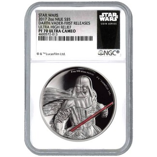 2017 2-oz Silver Darth Vader Ultra High Relief NGC PF70 UC First Releases