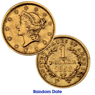 Great California Gold Rush Collection: Random Date $1 Gold Liberty Type I XF/AU