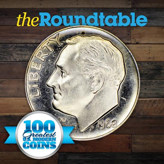 100 Greatest U.S. Modern Coins Series: 1968, No S, Roosevelt Dime, Proof