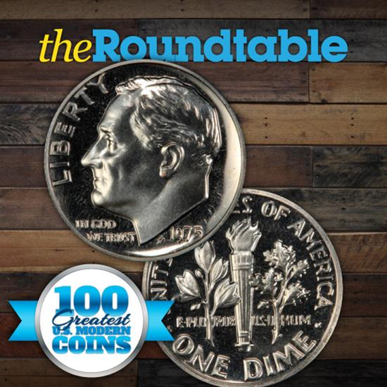 100 Greatest U.S. Modern Coins Series: 1975, No S, Roosevelt Dime, Proof