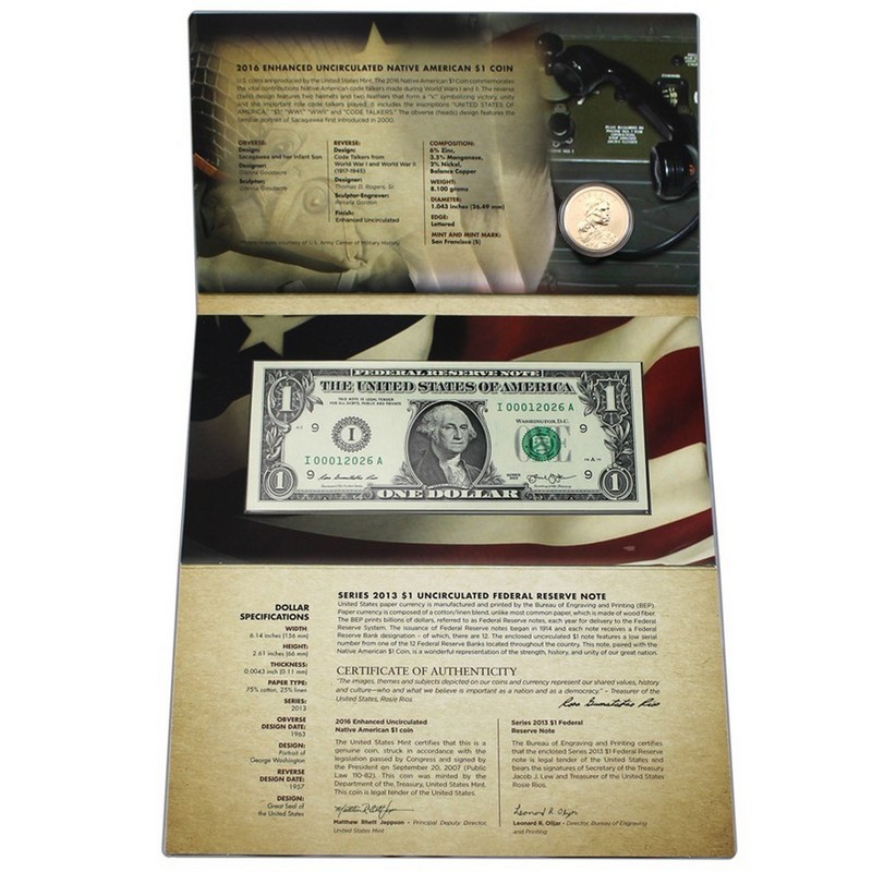 2016 S Native American Coin and Currency Sets WITH the enhanced Dollar coin