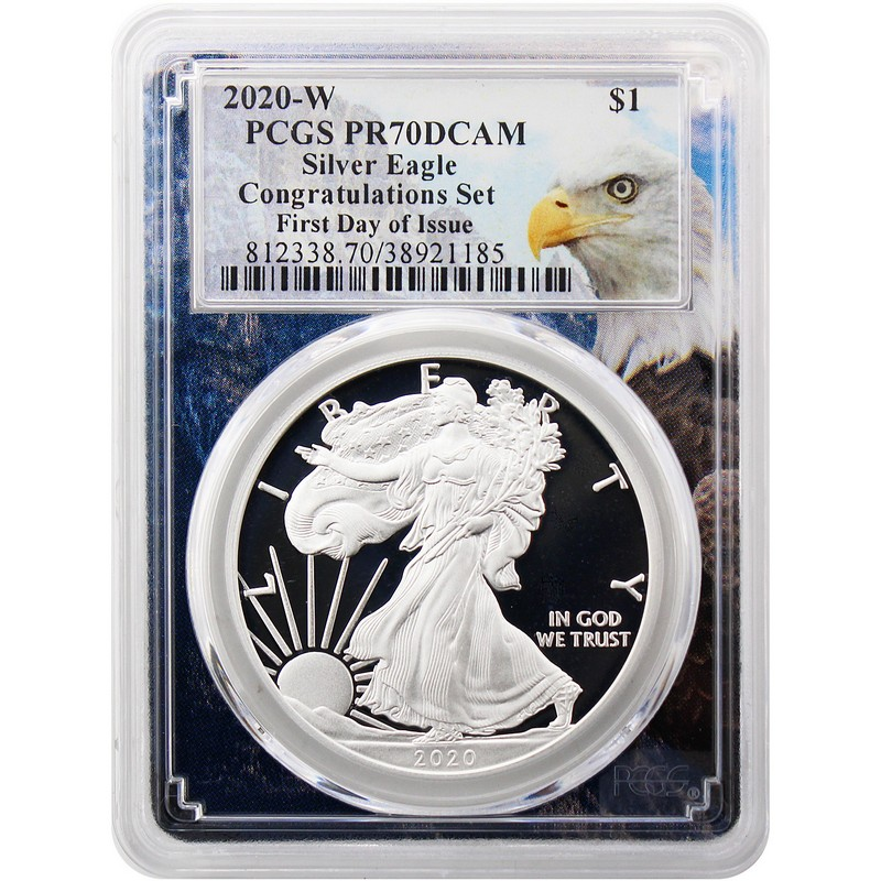 2020 W Congratulations Silver Eagle PCGS PR70 First Day Eagle Frame