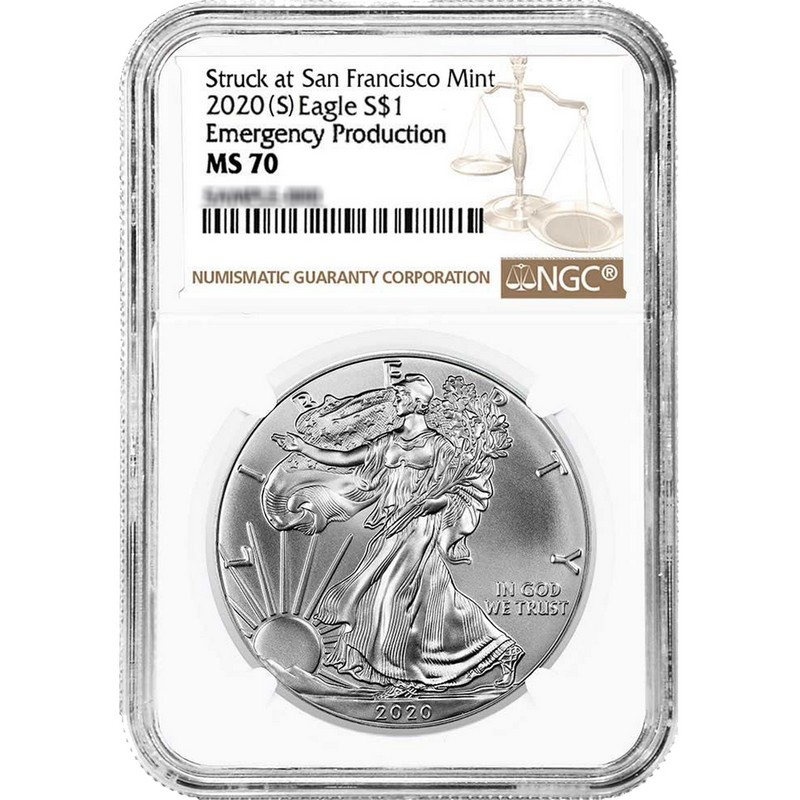 2020 $1 Silver Eagle San Francisco Mint Emergency Production NGC MS69 ER S
