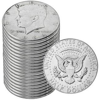 1964D Kennedy Half Dollar roll UNC Roll of 20-90/% Silver US coins