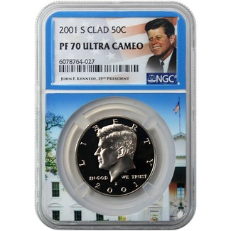 2001 S Clad Kennedy Half Dollar NGC PF70 Ultra Cameo Portrait Label/White House Core