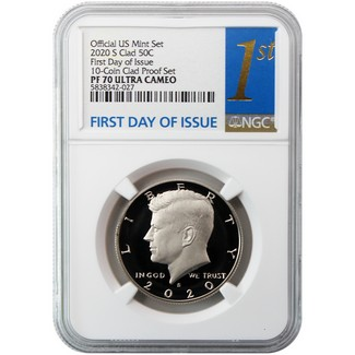 2020 S Clad Kennedy Half Dollar NGC PF70 Ultra Cameo First Day Issue from 10-Coin Clad Proof Set 1st