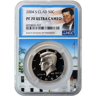 2004 S Clad Kennedy Half Dollar NGC PF70 Ultra Cameo Portrait Label/White House Core