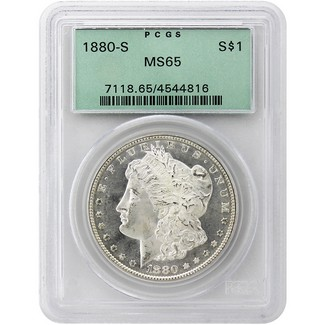1880-S Morgan Dollar PCGS MS-65 Green 2nd Generation Label