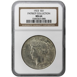 "1923 P Peace Dollar NGC MS 64 ""Patriot Collection"""