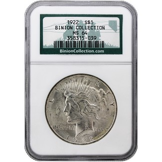 "1922 P Peace Dollar NGC MS 64 ""Binion Collection"""