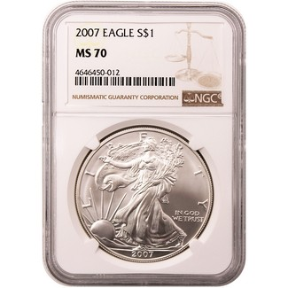 2007 Silver Eagle NGC MS70 Brown Label